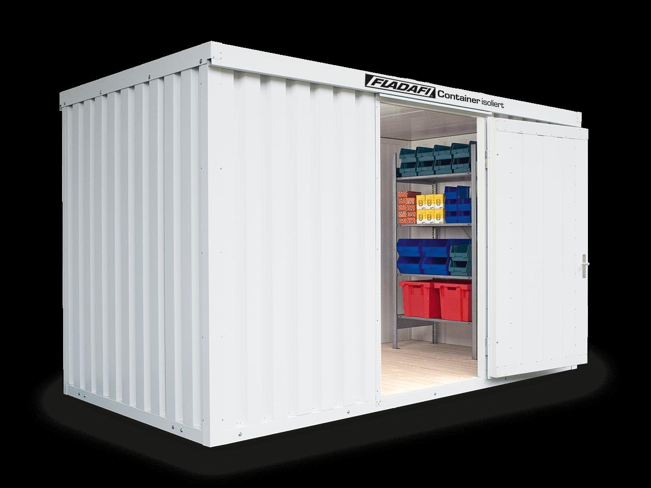 Ein isolierter Materialcontainer als Garage