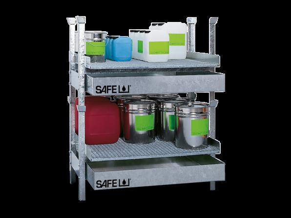 SAFE Kleingebinderegal für Gefahrstoffe Komplettset KSGD2E2