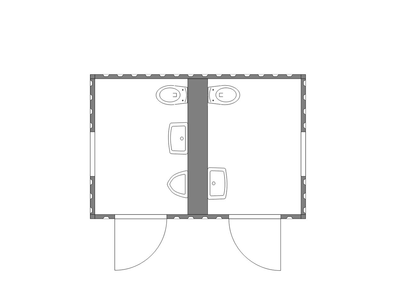 Sanitärcontainer Typ 2.3 13854 - isolierter Toilettencontainer für Damen und Herren